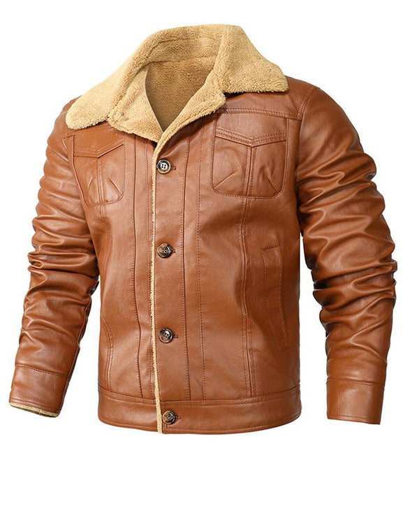 Men's thick leather motorcycle jacket