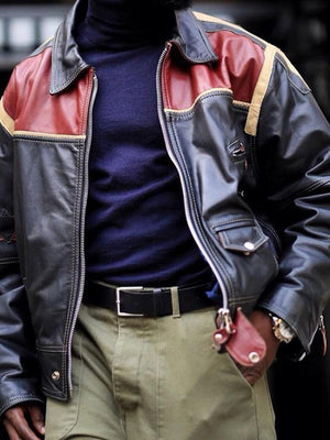Lapel Standard Color Block Zipper Leather Jacket