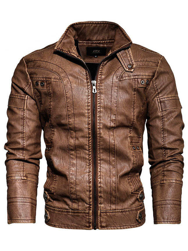 Men's retro European and American leather jacket