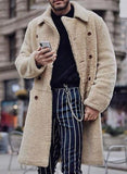 Button Plain Lapel Casual Coat