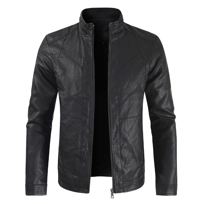 Leather Jacket Men Spring Casual Men Stand Collar Motorcycle PU Leather Jacket Coat Male Outerwear Leather Jacket