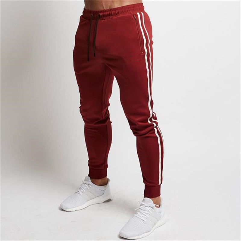 Men's fitness pants color matching casual running pants
