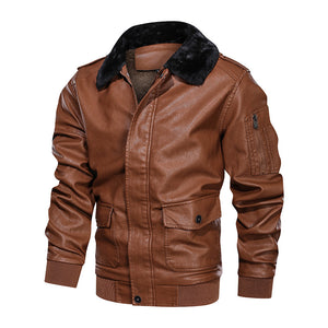 Men's lapel large fur collar padded pu leather jacket