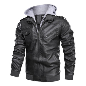 Men's jacket leather coat Pu detachable cap