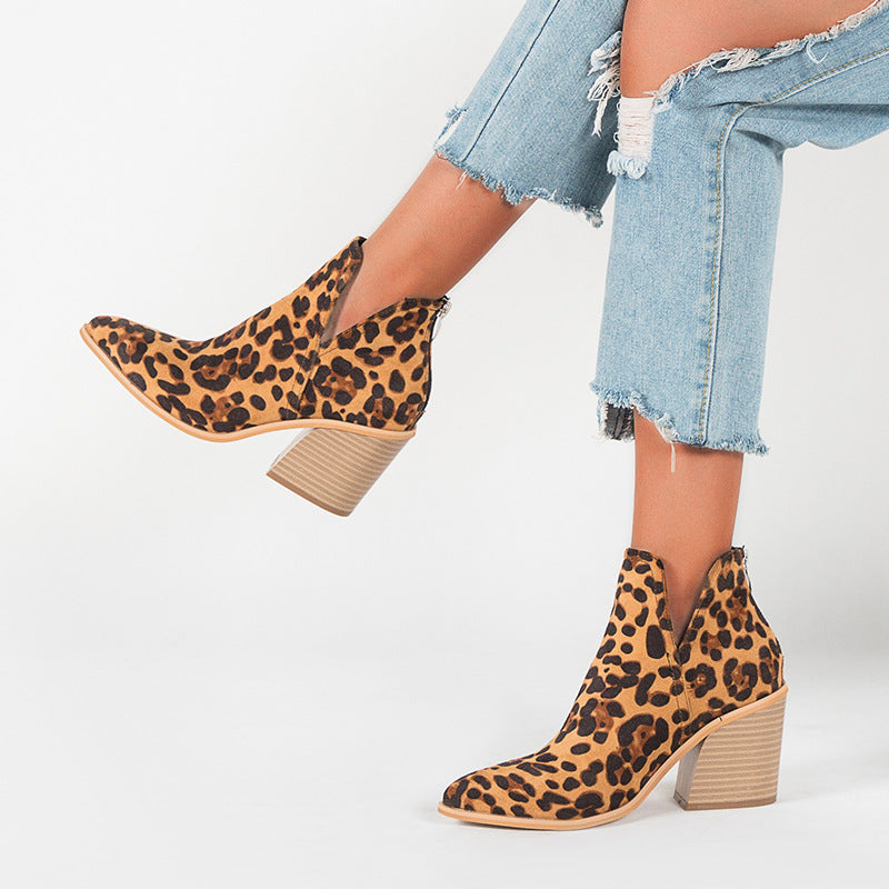 Women's leopard print short boots fashion thick heel pointed toe print boots