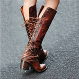 Women's back lace up Mid Heel round toe over knee boots