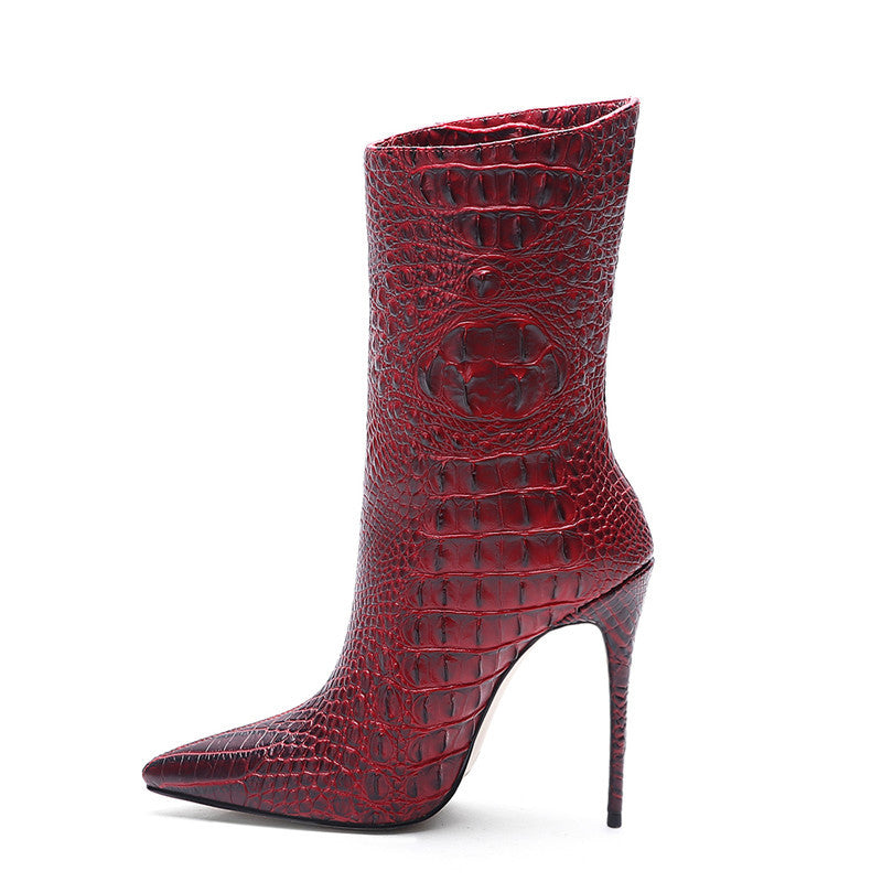 Crocodile women's shoes large pointed high heel knee ankle boots