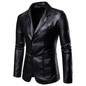 Men's slim PU lapel leather jacket