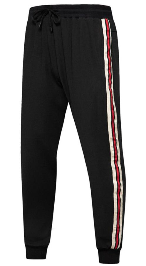 Men's contrast stripe casual sports pants