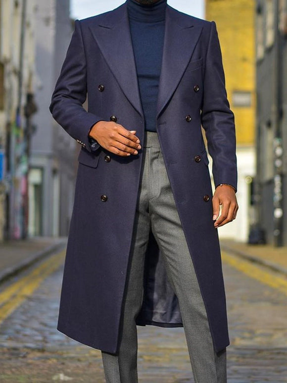 Belt Lapel Long Double-Breasted Straight Coat