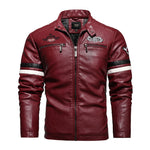 Men's leather jacket plus size PU coat trendy motorcycle clothing