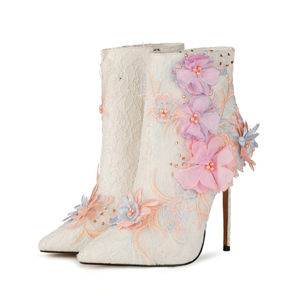 White wedding high heel boots large embroidery Pink