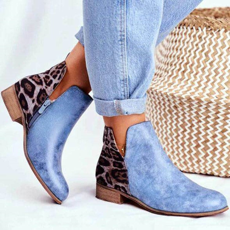Leopard print boots European and American medium thick heel single boots low boots V short boots women's shoes