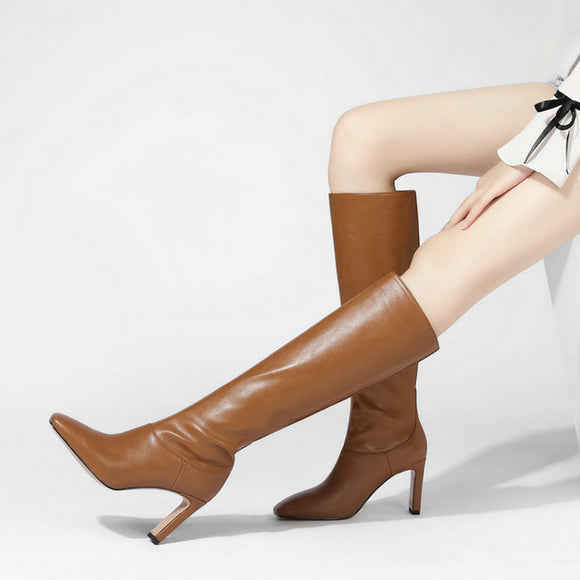 Square head Knee Boots imitation cow leather thick high-heeled high-heeled boots