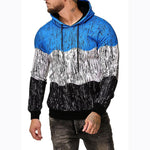 Men's Fashion Color Block Printing Pullover Hoodie
