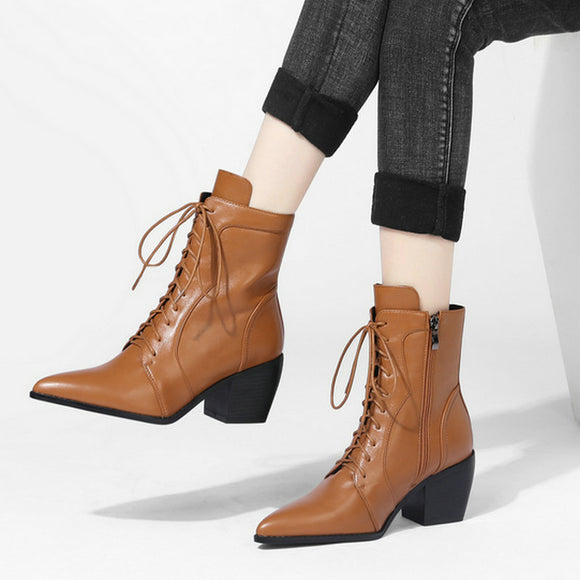 Western side zipper Martin boots women's pointed thick heel lace up short boots