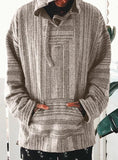 Men's Retro striped hooded sweater fashion casual coat