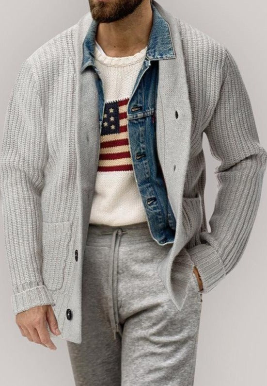 Men's fashion trend cardigan coat