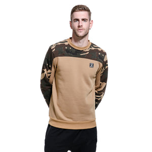 Men's large round neck casual camouflage Fleece Pullover Sweater