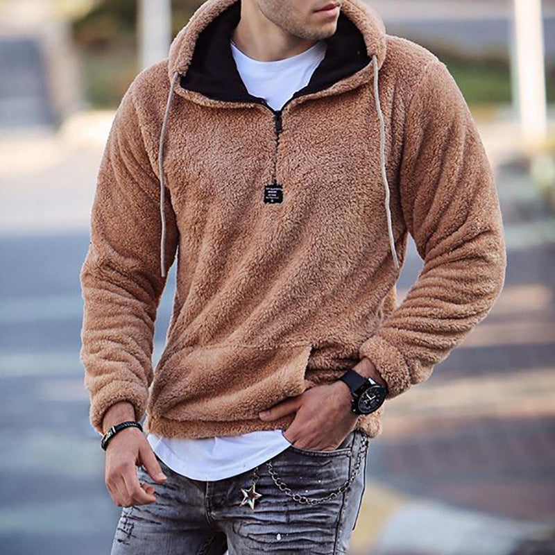 Men's fashion hooded pullover sweater men casual plush long-sleeved sweater men