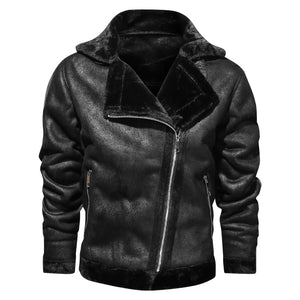 Men's fur warmth thickening motorcycle outdoor cotton jacket