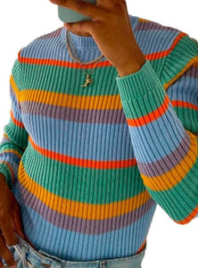 Men's slim fit rainbow stripe color matching casual knitting sweater