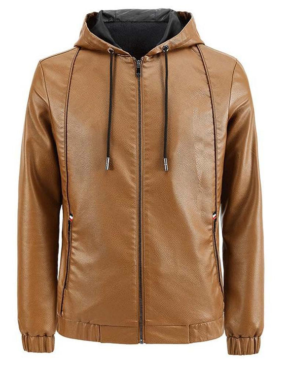 Leather men's hooded slim-fit motorcycle casual jacket