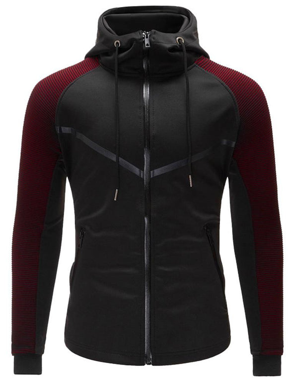 Men Contrast Raglan Sleeve Drawstring Jacket