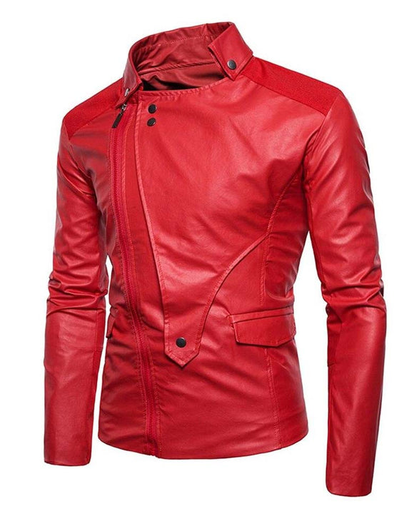 Men's ordinary collar motorcycle jacket irregular faux leather coat