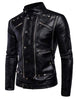 Men's motorcycle multi-zip leather leather jacket