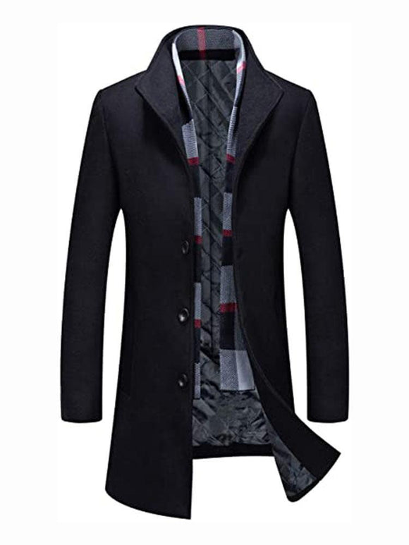 Fashionable Men's Polyester Cotton Blended Long Jacket with Scarf