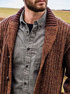 Standard lapel patchwork casual single-breasted sweater