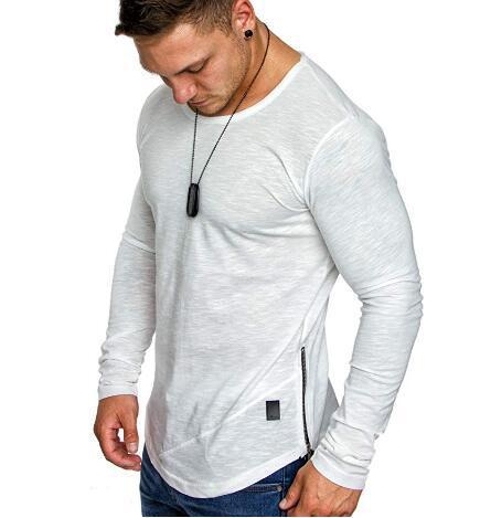 Long sleeve zipper stitching round neck bottoming T-shirt men's top