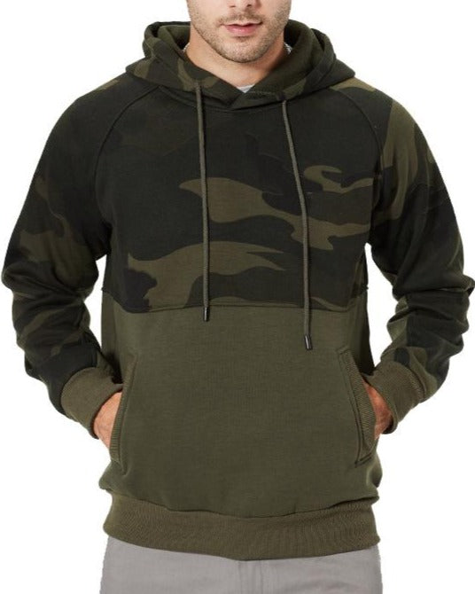 Men's warm sweater camouflage with cotton hooded casual jacket