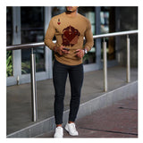 Men's Sweatshirt Men's Red Heart A Printed Round Neck Slim Sweatshirt