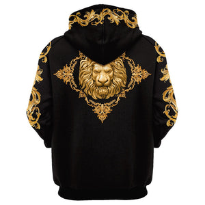Men's 3D lion graphic long sleeve patch pocket