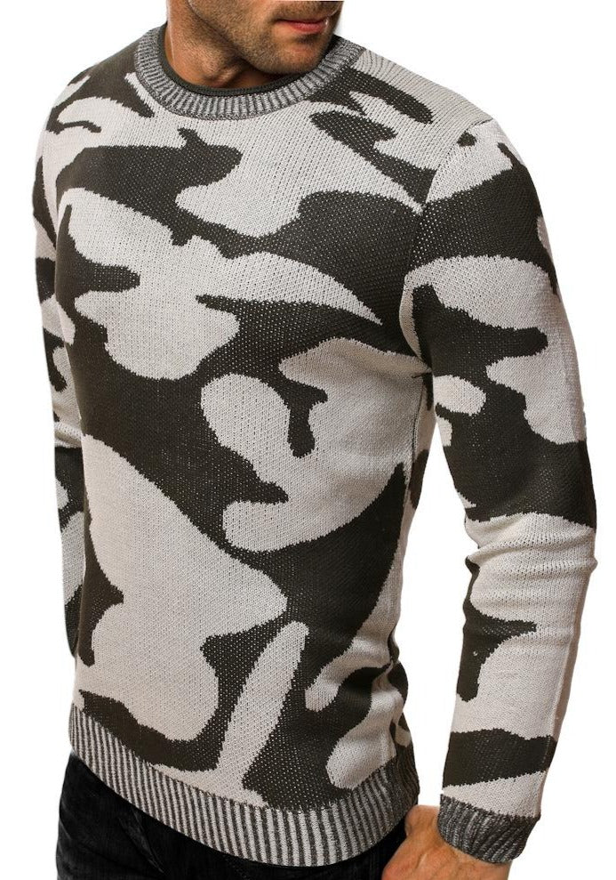 Men's large camouflage crew neck Pullover Sweater