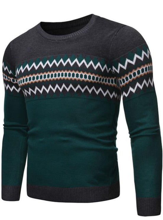 Men's long sleeve cotton slim fit black color matching crew neck sweater sweater