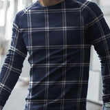 Fashion casual round neck youth Plaid long sleeve T-shirt