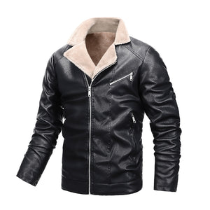 Men's padded stand collar large size leather jacket casual PU motorcycle leather jacket