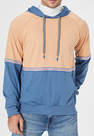Men's personalized color matching ribbon splicing hooded cardigan slim sweater
