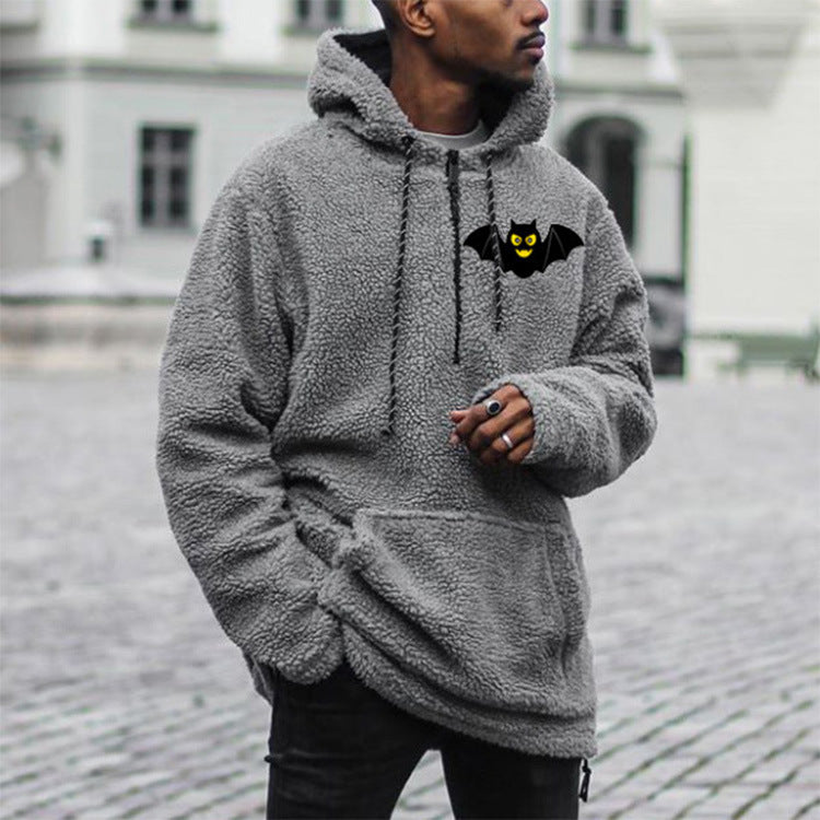 Sweater Halloween Bat Loose Hooded Pullover Gray Sweatshirt