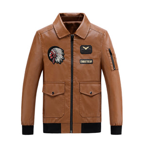 Leather men's fashion slim flight suit thickened