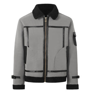 Men's autumn and winter coat lapel fur leather jacket