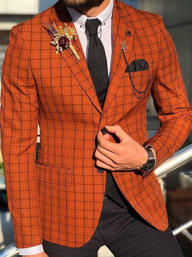 Plaid Casual Slim Leisure  Blazer