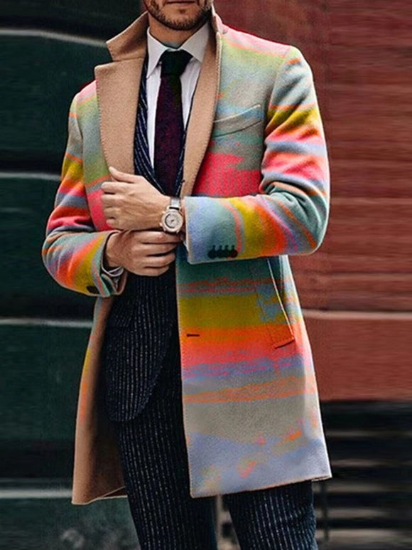 Color Block Button Mid-Length Casual A Line Coat