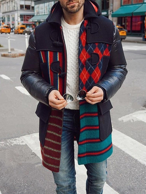 Mid-Length Color Block A Line Casual Coat