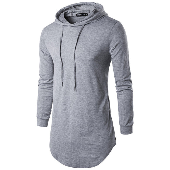 Fashion and popular long T-shirt men's casual solid color hooded long-sleeved T-shirt