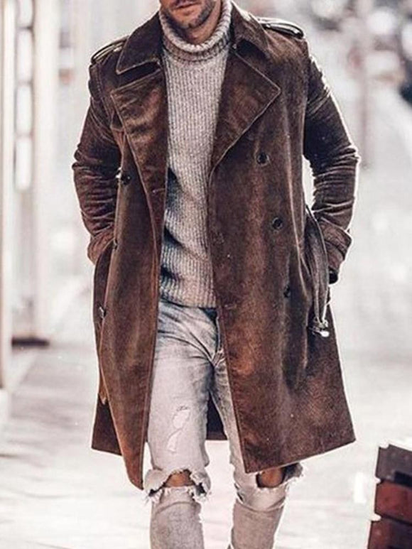 Lapel Button Plain Double-Breasted Winter Coat