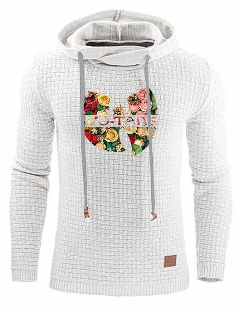 Print Floral Pullover Casual Loose Hoodies